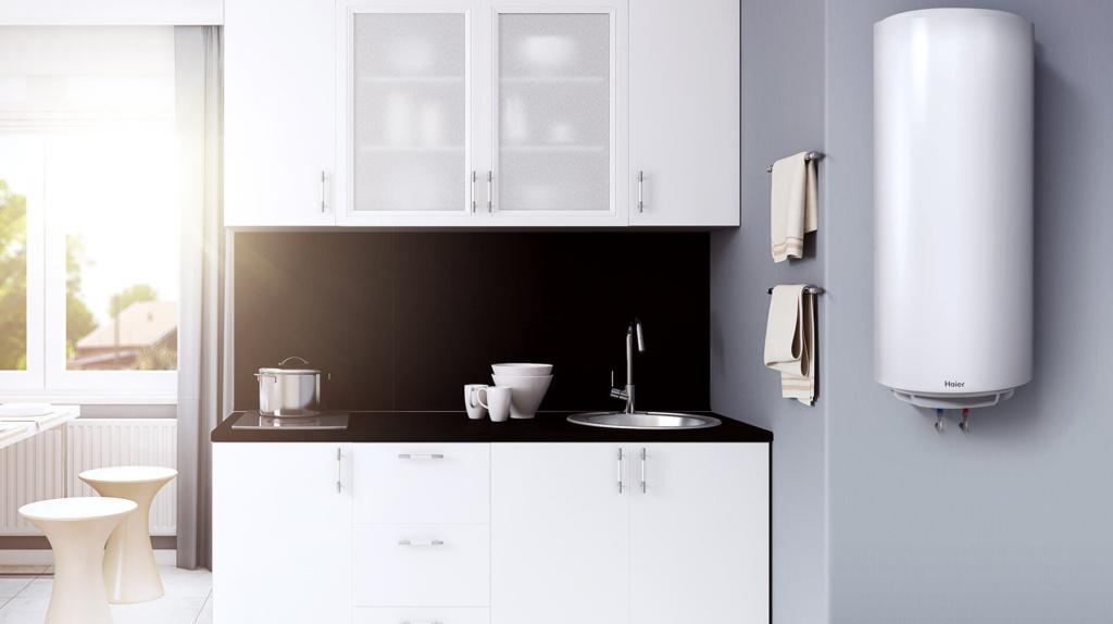 Електричний водонагрівач встановлений на кухні