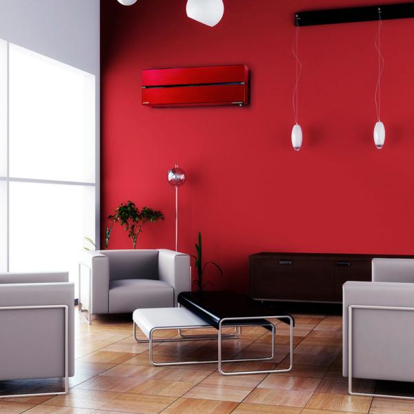 Червоний Кондиціонер mitsubishi в кімнаті